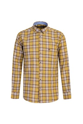 Erkek Giyim - KOYU SARI L Beden Uzun Kol Desenli Regular Fit Gömlek