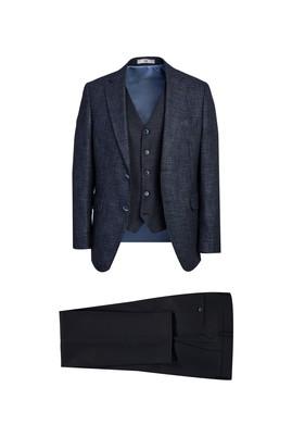 Erkek Giyim - KOYU LACİVERT 46 Beden Yelekli Kombinli Slim Fit Takım Elbise