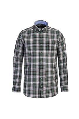 Erkek Giyim - KÜF YEŞİLİ 4X Beden Uzun Kol Desenli Regular Fit Gömlek