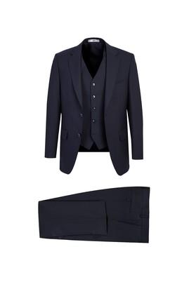 Erkek Giyim - KOYU LACİVERT 48 Beden Yünlü Yelekli Klasik Takım Elbise