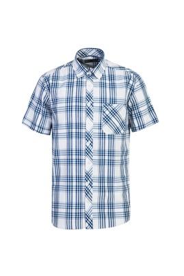 Erkek Giyim - GÖK MAVİSİ 3X Beden Kısa Kol Regular Fit Ekose Gömlek