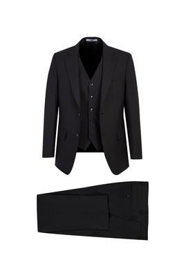 Erkek Giyim - SİYAH 48 Beden Yünlü Yelekli Klasik Takım Elbise