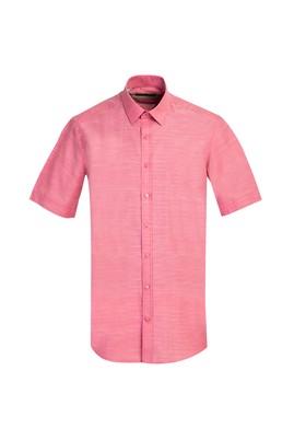 Erkek Giyim - MERCAN KIRMIZI L Beden Kısa Kol Regular Fit Gömlek