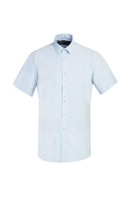 Erkek Giyim - SU MAVİSİ L Beden Kısa Kol Regular Fit Gömlek