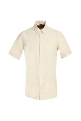 Erkek Giyim - AÇIK SARI XL Beden Kısa Kol Regular Fit Gömlek