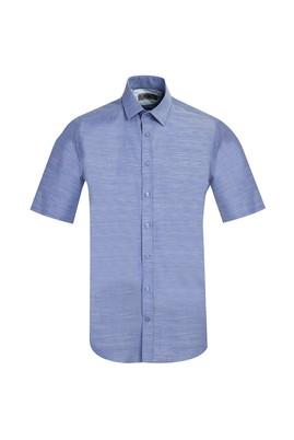 Erkek Giyim - KOYU MAVİ L Beden Kısa Kol Regular Fit Gömlek