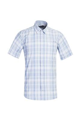Erkek Giyim - AÇIK MAVİ 3X Beden Kısa Kol Regular Fit Ekose Gömlek