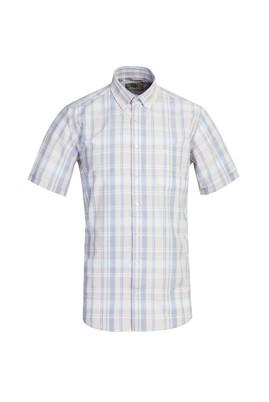Erkek Giyim - AÇIK BEJ 3X Beden Kısa Kol Regular Fit Ekose Gömlek