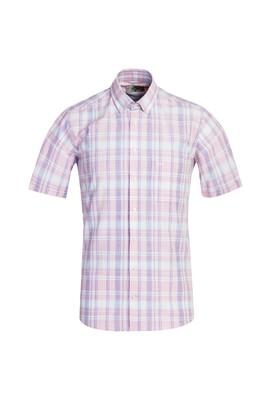 Erkek Giyim - TOZ PEMBE 3X Beden Kısa Kol Regular Fit Ekose Gömlek