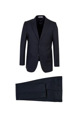Erkek Giyim - SİYAH LACİVERT 50 Beden Desenli Klasik Takım Elbise