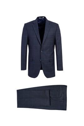 Erkek Giyim - KOYU LACİVERT 48 Beden Kareli Regular Fit Takım Elbise
