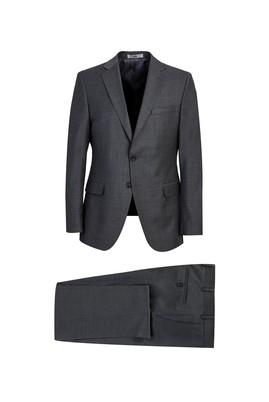 Erkek Giyim - ORTA FÜME 60 Beden Yünlü Klasik Takım Elbise