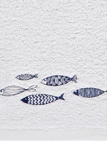Erkek Giyim - Balık Nakışlı El Havlusu (30x50)