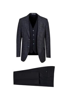 Erkek Giyim - KOYU LACİVERT 54 Beden Regular Fit Yelekli Kombinli Takım Elbise