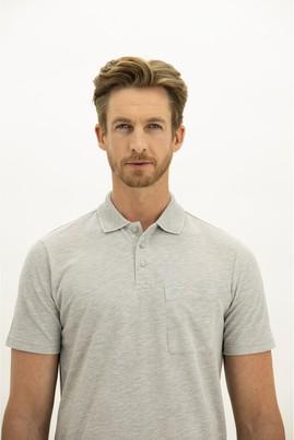 Erkek Giyim - AÇIK GRİ MELANJ 3X Beden Polo Yaka Regular Fit Tişört
