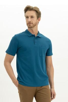 Erkek Giyim - KOYU PETROL L Beden Polo Yaka Regular Fit Tişört