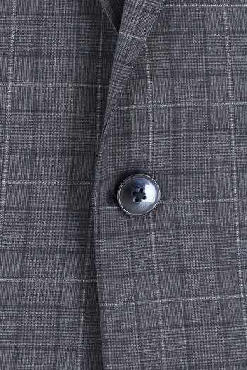 Erkek Giyim - Regular Fit Yünlü Ekose Takım Elbise