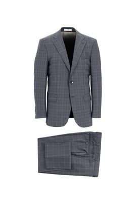 Erkek Giyim - KOYU FÜME 52 Beden Regular Fit Yünlü Ekose Takım Elbise