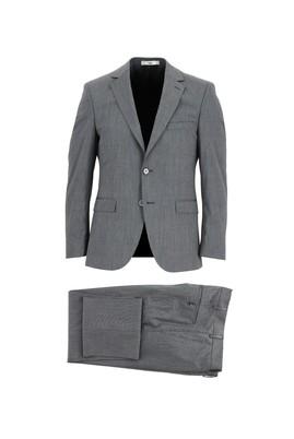 Erkek Giyim - KOYU ANTRASİT 44 Beden Slim Fit Yünlü Takım Elbise