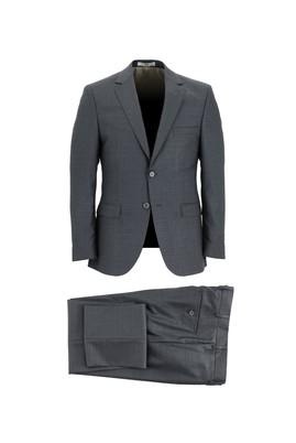 Erkek Giyim - KOYU FÜME 46 Beden Slim Fit Yünlü Takım Elbise