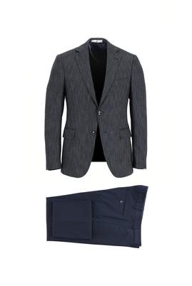 Erkek Giyim - ORTA LACİVERT 52 Beden Slim Fit Kombinli Takım Elbise