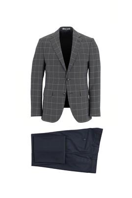 Erkek Giyim - KOYU LACİVERT 48 Beden Slim Fit Kombinli Kareli Takım Elbise