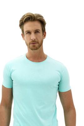 Erkek Giyim - SU MAVİSİ L Beden Bisiklet Yaka Slim Fit Tişört