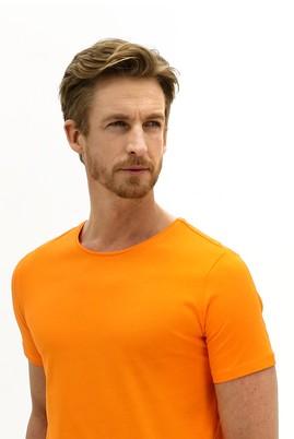Erkek Giyim - AÇIK TURUNCU L Beden Bisiklet Yaka Slim Fit Tişört