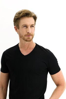 Erkek Giyim - Siyah L Beden V Yaka Slim Fit Tişört