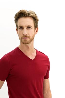 Erkek Giyim - AÇIK BORDO L Beden V Yaka Slim Fit Tişört