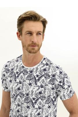 Erkek Giyim - BEYAZ M Beden Bisiklet Yaka Slim Fit Baskılı Tişört
