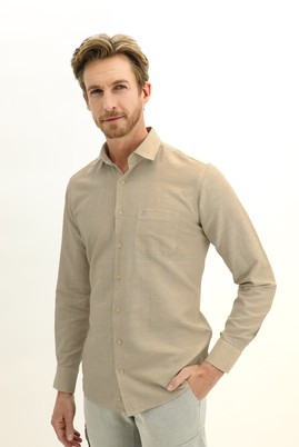 Erkek Giyim - ORTA BEJ 3X Beden Uzun Kol Keten Relax Fit Gömlek