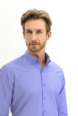 Erkek Giyim - GÖK MAVİSİ 3X Beden Uzun Kol Regular Fit Çizgili Gömlek