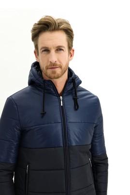 Erkek Giyim - ORTA LACİVERT L Beden Kapüşonlu Spor Kaban