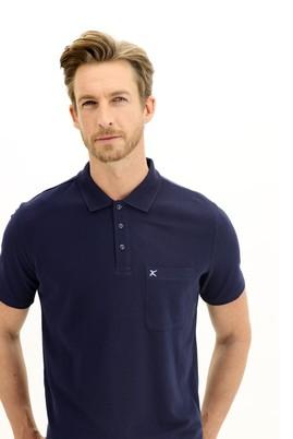 Erkek Giyim - ORTA LACİVERT 3X Beden Polo Yaka Regular Fit Tişört