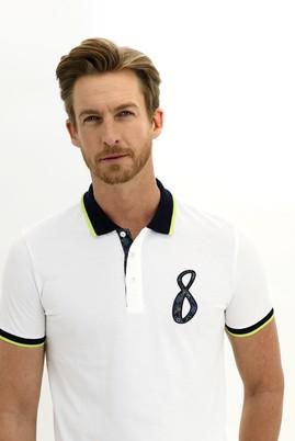 Erkek Giyim - EKRU L Beden Polo Yaka Slim Fit Desenli Tişört