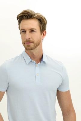 Erkek Giyim - UÇUK MAVİ L Beden Polo Yaka Slim Fit Tişört