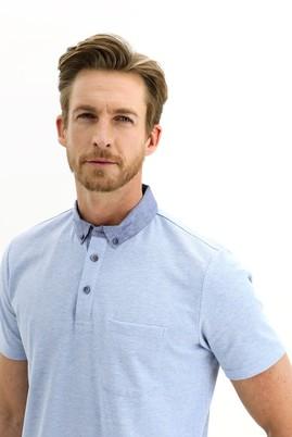Erkek Giyim - MAVİ L Beden Polo Yaka Regular Fit Tişört