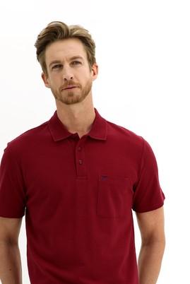 Erkek Giyim - KOYU KIRMIZI L Beden Polo Yaka Regular Fit Tişört