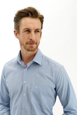 Erkek Giyim - AÇIK LACİVERT XL Beden Uzun Kol Regular Fit Desenli Gömlek