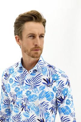 Erkek Giyim - BEYAZ L Beden Uzun Kol Regular Fit Desenli Spor Gömlek