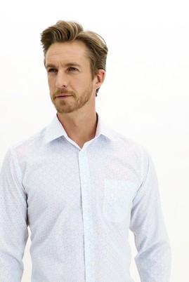Erkek Giyim - AÇIK MAVİ 3X Beden Uzun Kol Regular Fit Desenli Gömlek