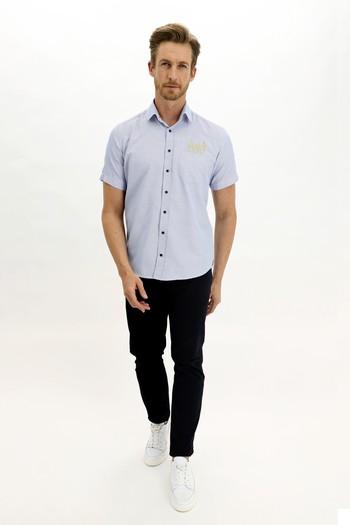 Erkek Giyim - Kısa Kol Regular Fit Nakışlı Gömlek