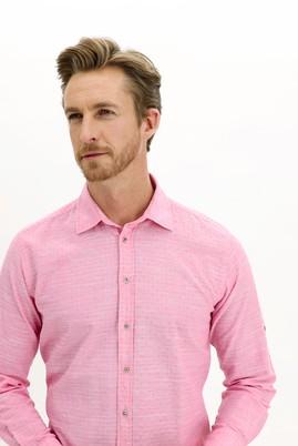 Erkek Giyim - PEMBE L Beden Uzun Kol Regular Fit Desenli Gömlek