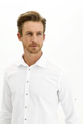 Erkek Giyim - BEYAZ L Beden Uzun Kol Regular Fit Desenli Gömlek