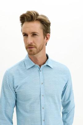 Erkek Giyim - AÇIK TURKUAZ L Beden Uzun Kol Regular Fit Desenli Gömlek