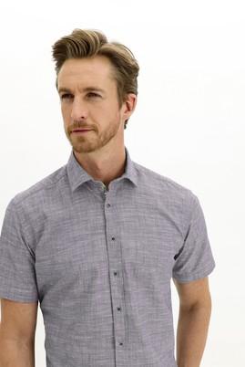 Erkek Giyim - AÇIK LACİVERT L Beden Kısa Kol Regular Fit Desenli Gömlek