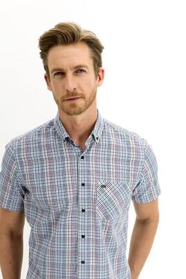 Erkek Giyim - KOYU KIRMIZI L Beden Kısa Kol Regular Fit Ekose Gömlek