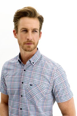 Erkek Giyim - TOZ PEMBE 4X Beden Kısa Kol Regular Fit Ekose Gömlek