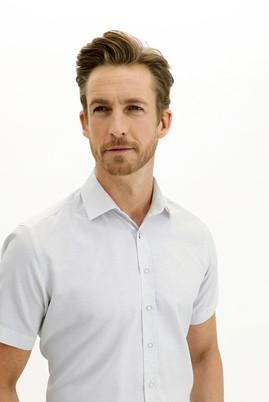 Erkek Giyim - AÇIK GRİ L Beden Kısa Kol Regular Fit Desenli Gömlek